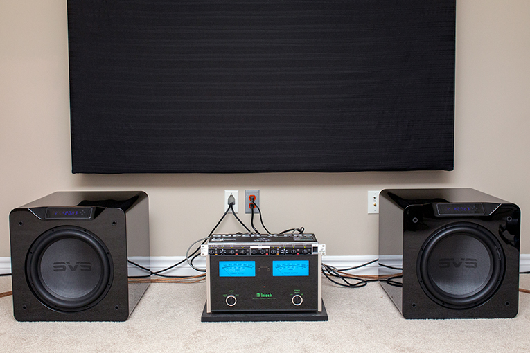 Two SVS subwoofers